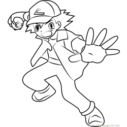 Ash Free Coloring Page for Kids