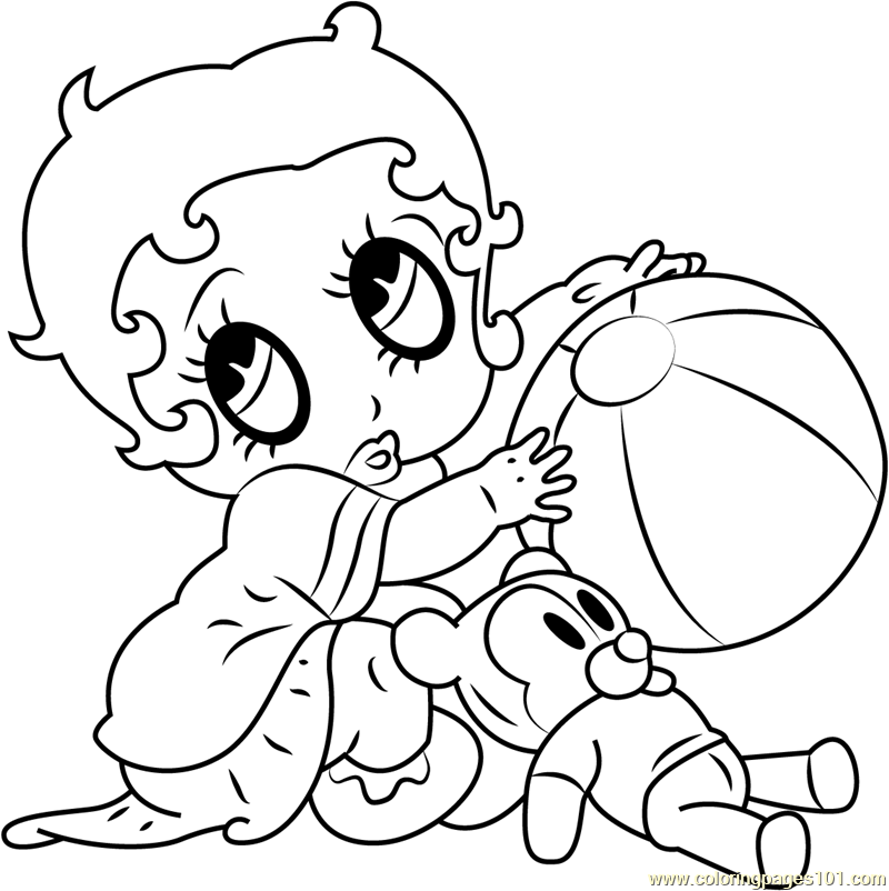 Betty Boop with Ball and Bear Coloring
