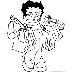 Betty Boop going for Shopping Free Coloring Page for Kids