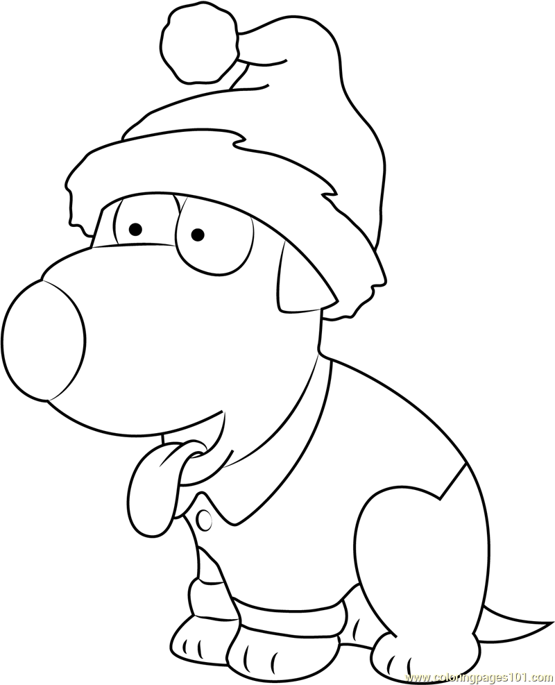 brian griffin celebrates christmas coloring page