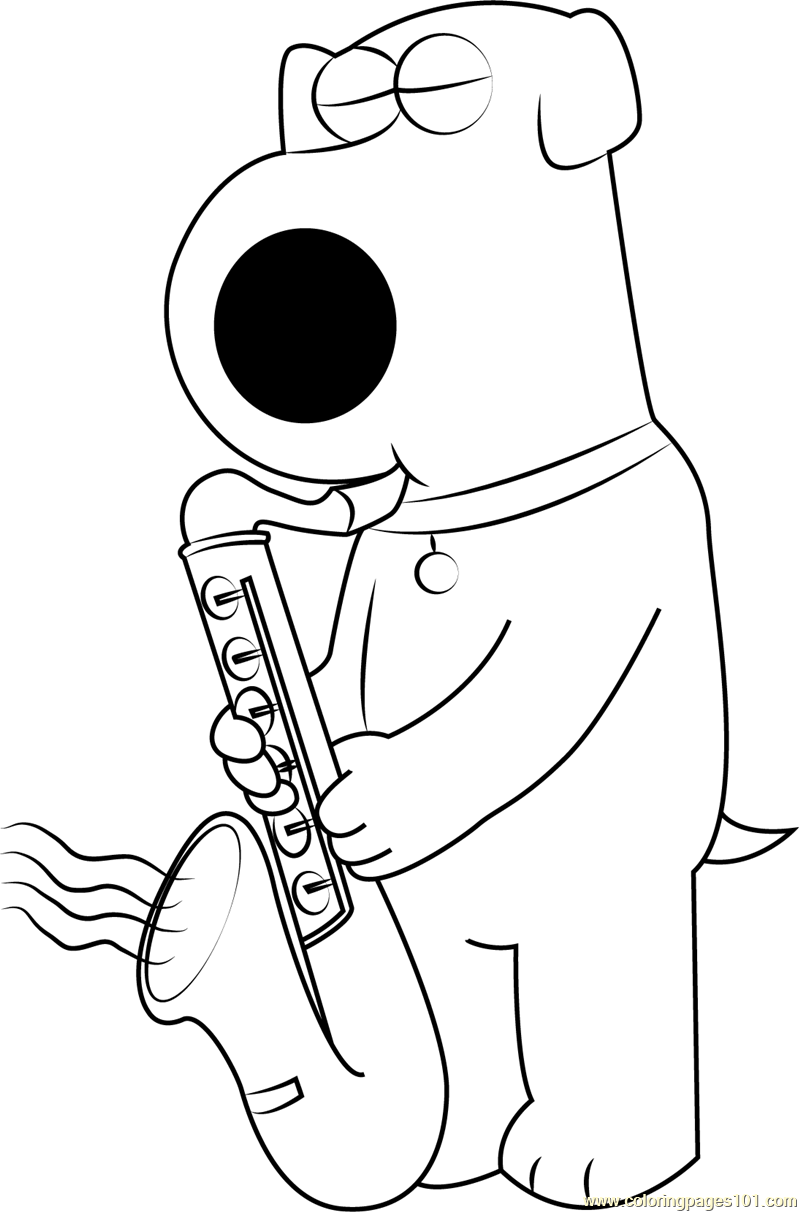 Brian Griffin Playing Saxophone Coloring Page