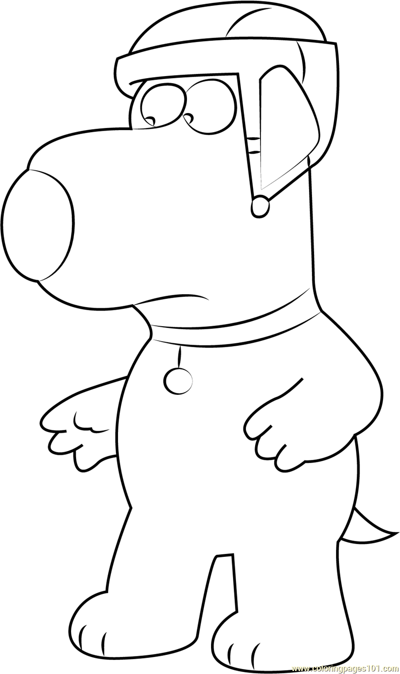 Brian Griffin wearing Helmet Coloring Page