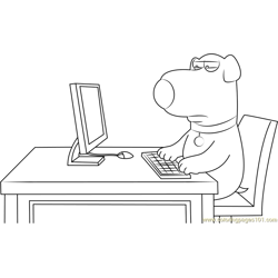 Brian Griffin Working on Computer Free Coloring Page for Kids