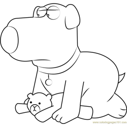 Brian Griffin with Bear coloring page