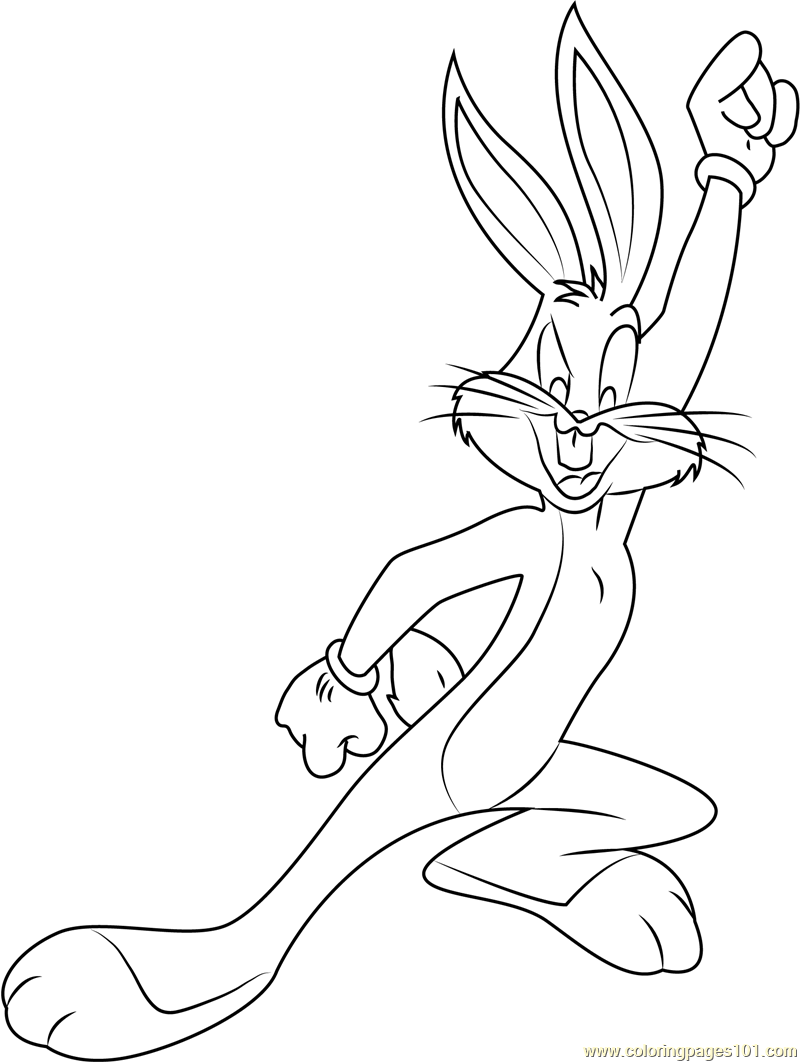 Happy Bugs Bunny Coloring Page - Free Bugs Bunny Coloring Pages ...