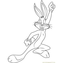Happy Bugs Bunny Free Coloring Page for Kids