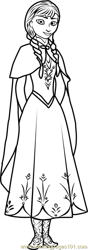 Princess Anna printable coloring page for kids and adults