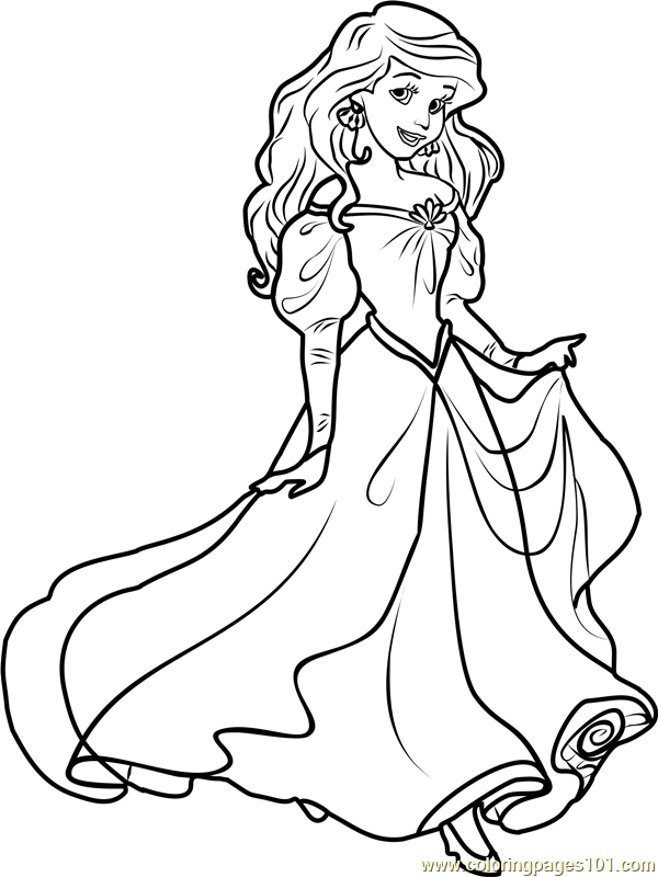 Princess Ariel Printable Coloring Page For Kids And Adults