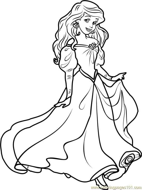Princess Ariel Coloring Page For Kids Free Disney Princesses Printable Coloring Pages Online For Kids Coloringpages101 Com Coloring Pages For Kids