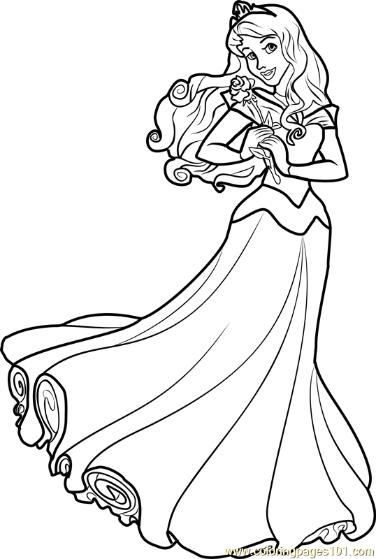 Princess Aurora printable coloring page for kids and adults
