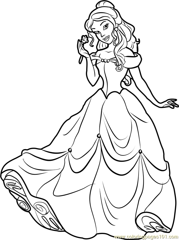Princess Belle Coloring Page Free Disney Princesses Coloring Pages Coloringpages101 Com