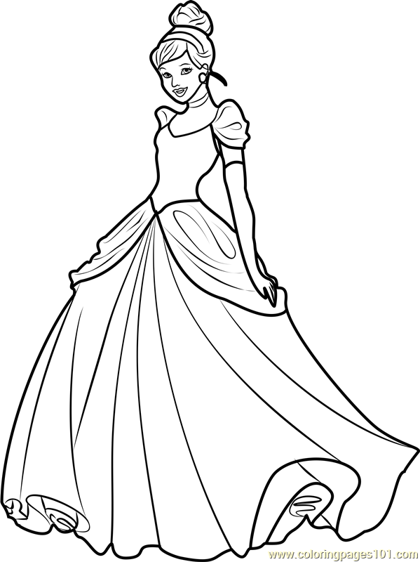 Princess Cinderella Coloring Page Free Disney Princesses