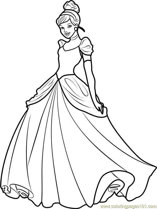 Princess Cinderella Coloring Page Free Disney Princesses