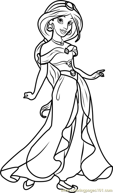 Princess jasmine coloring page free disney princesses for Jasmine the princess coloring pages