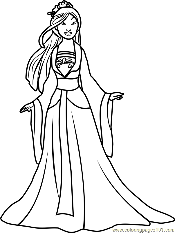 Princess Mulan Coloring Page Free Disney Princesses Coloring