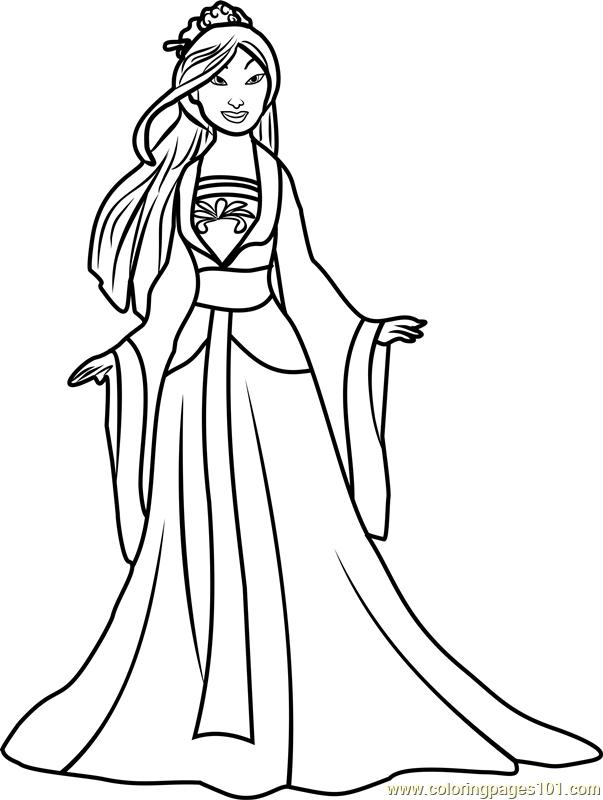 Mulan Coloring Pages Pdf : Princess mulan coloring page free disney princesses