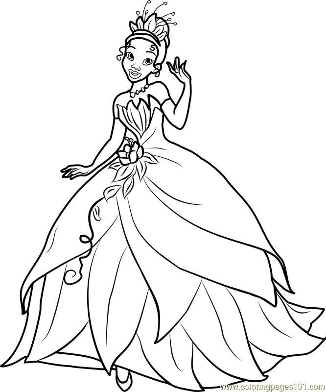 Princess Tiana Coloring Page Free Disney Princesses Coloring Pages
