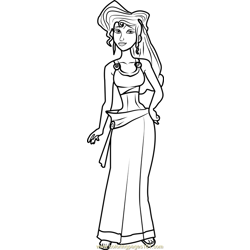 Princess Megara Free Coloring Page for Kids