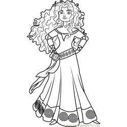 Princess Merida Free Coloring Page for Kids
