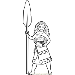 Princess Moana Free Coloring Page for Kids