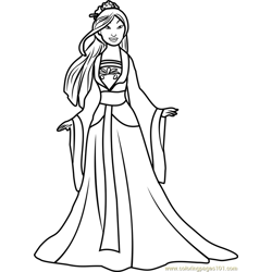 Princess Mulan Free Coloring Page for Kids