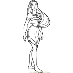 Princess Pocahontas Free Coloring Page for Kids