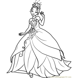 Princess Tiana Free Coloring Page for Kids