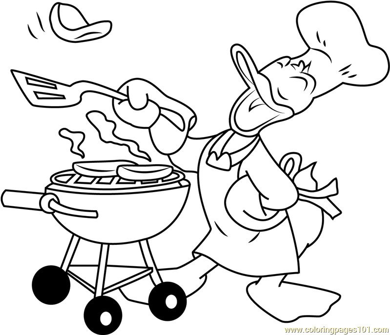 donald duck cooking coloring page free donald duck