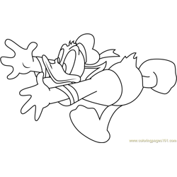 Running Donald Duck Free Coloring Page for Kids