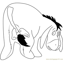 Eeyore in Winnie the Pooh Free Coloring Page for Kids