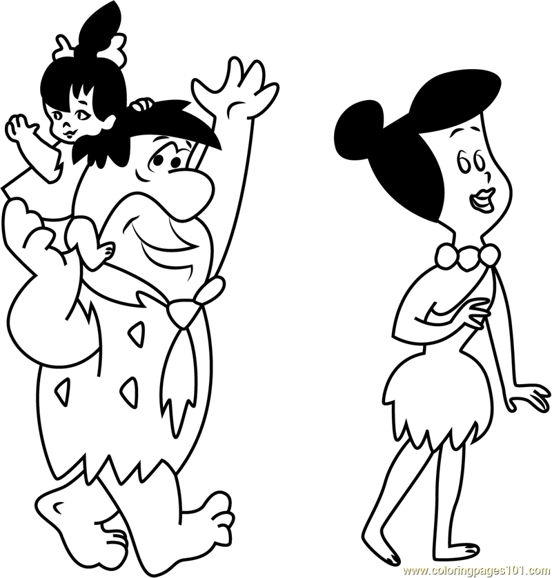 fred flintstone with his family coloring page