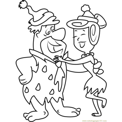 Fred Flintstone and Wilma Flintstone Dancing Free Coloring Page for Kids