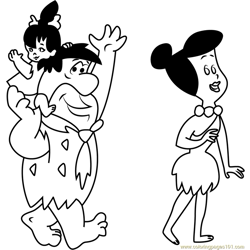 Fred Flintstone with his Family Free Coloring Page for Kids