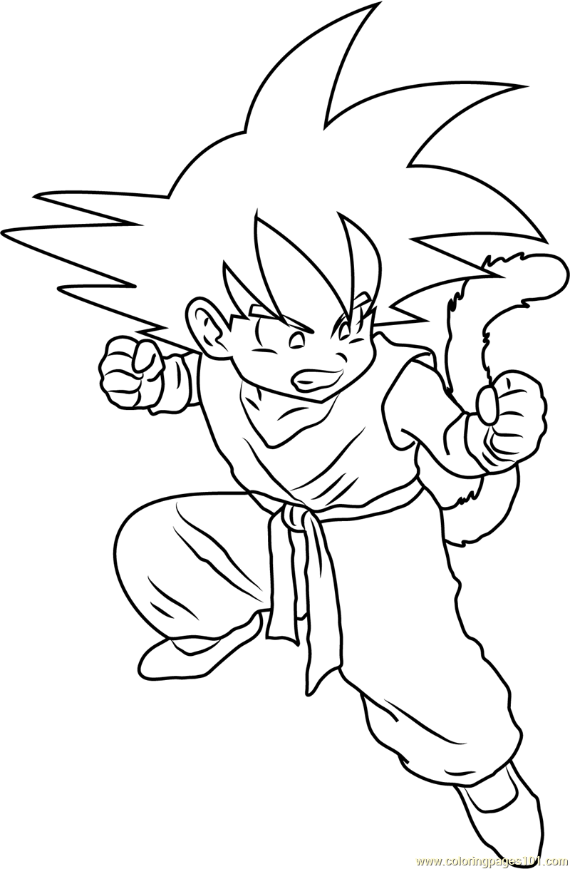 angry kid goku coloring page free goku coloring pages