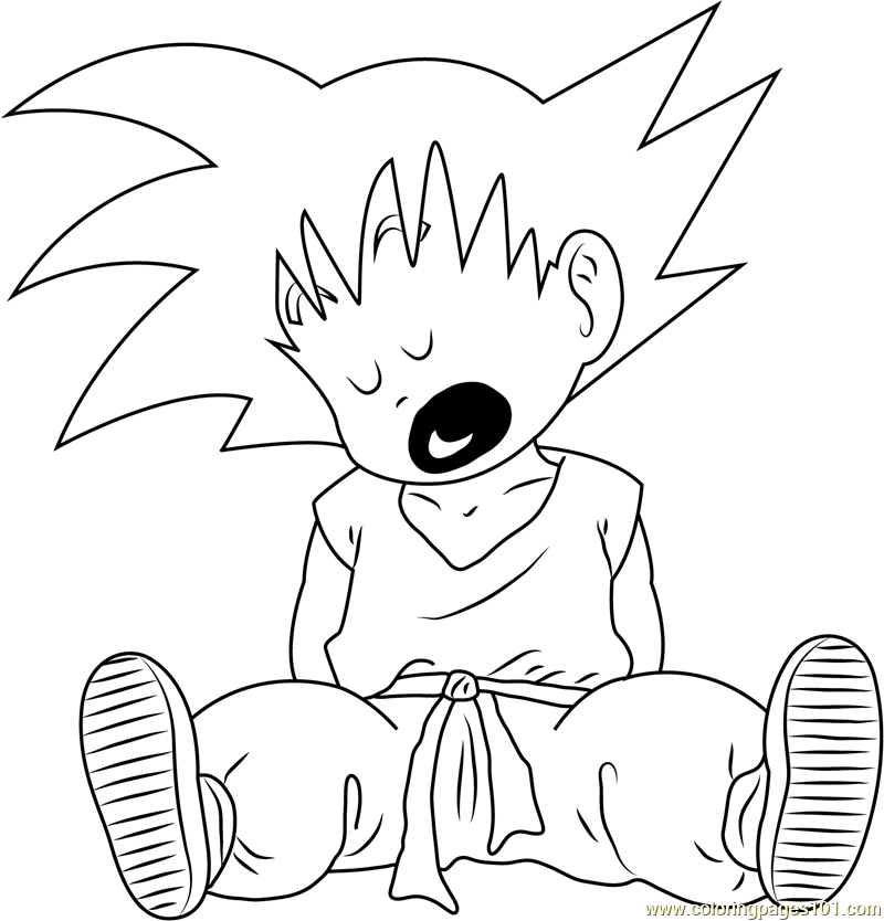 Goku Sleeping Coloring Page Free Goku Coloring Pages