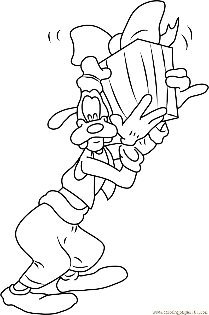 Goofy having Gift Coloring Page