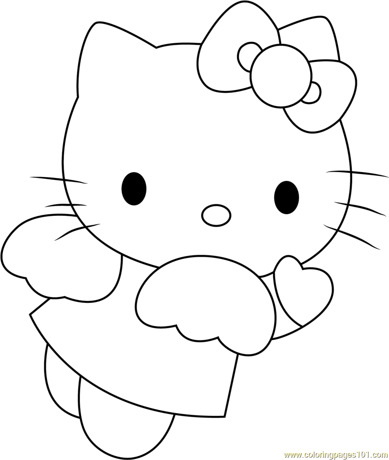 Angel Blue Hearts Hello Kitty Coloring Page