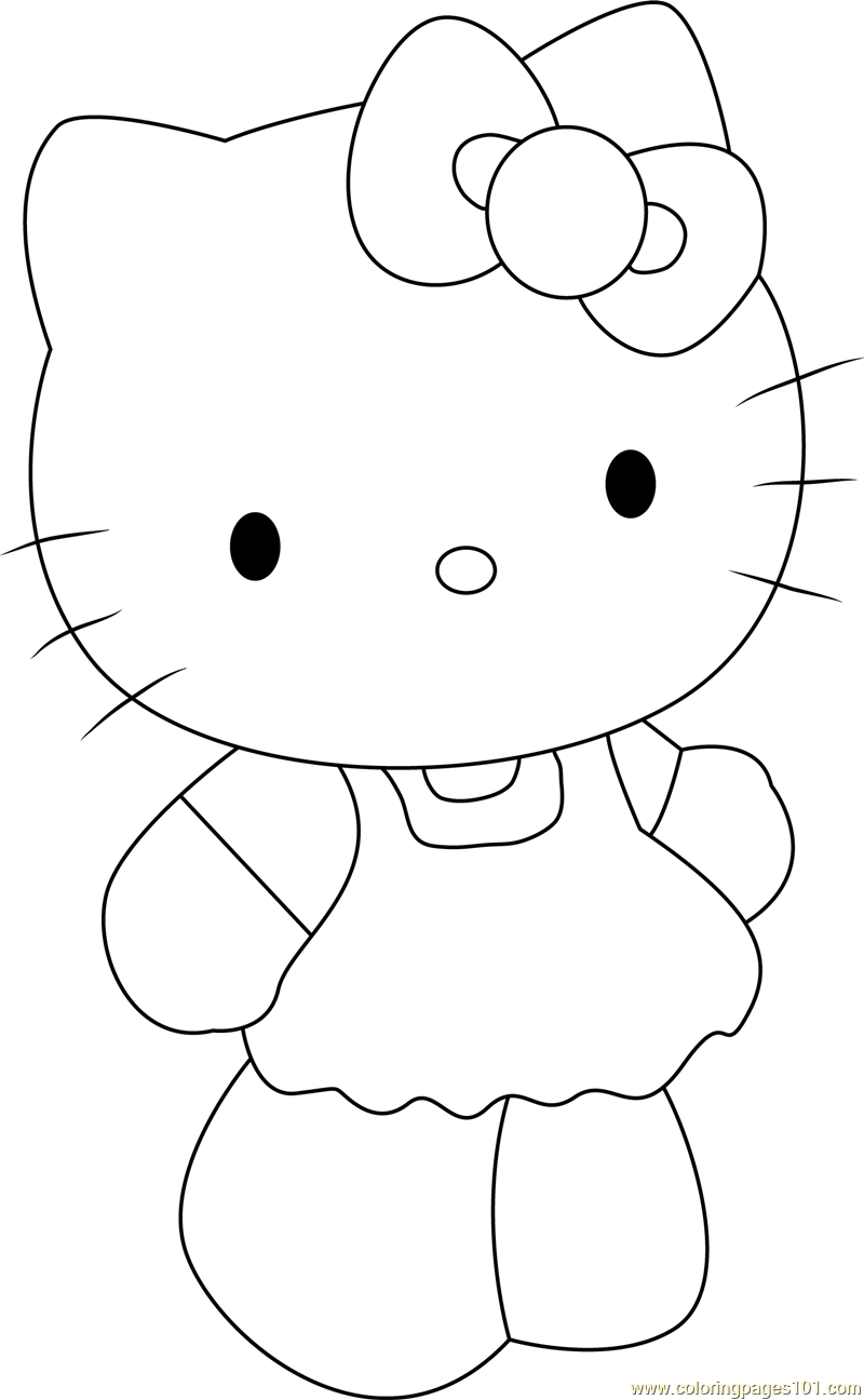 Cute Hello Kitty Coloring Page