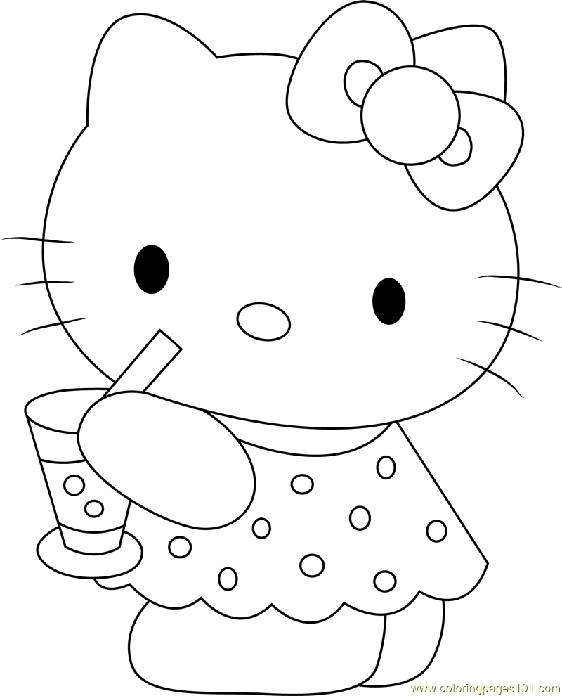 Hello Kitty Drinks Juice Coloring Page