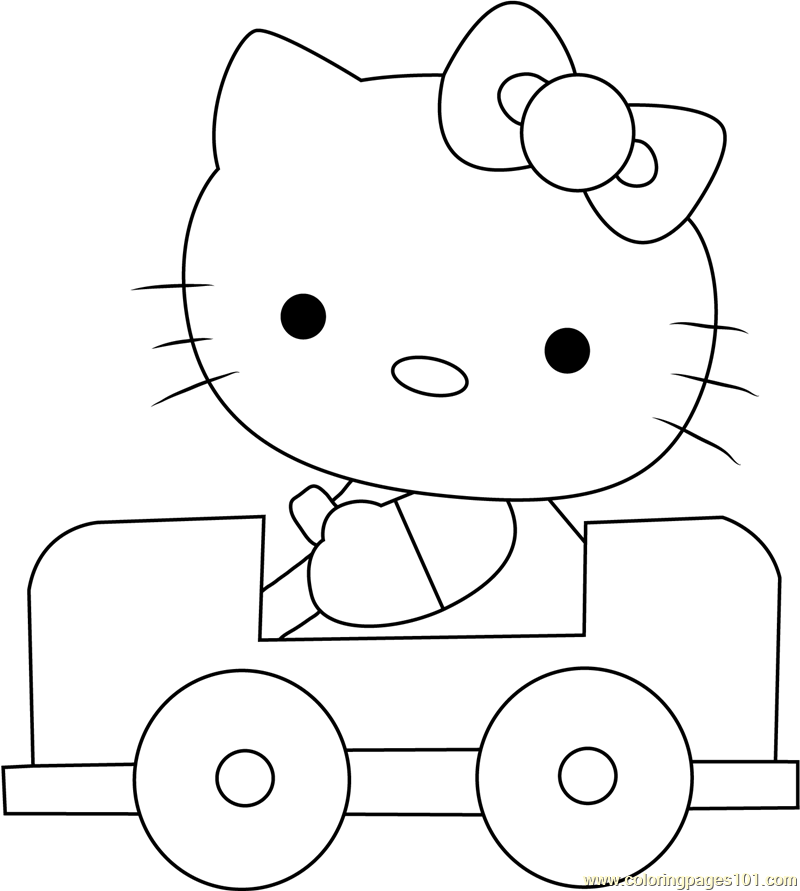 Hello Kitty Driving A Car Coloring Page