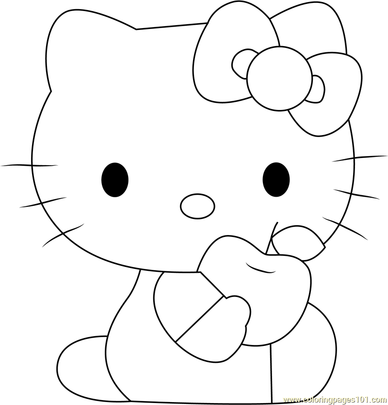 hello kitty eat apple coloring page - Apple Coloring