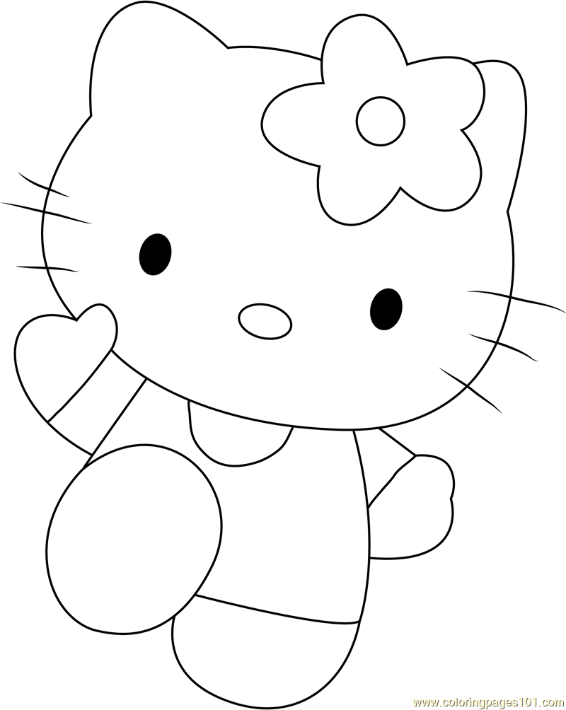 Hello Kitty Pink Coloring Page