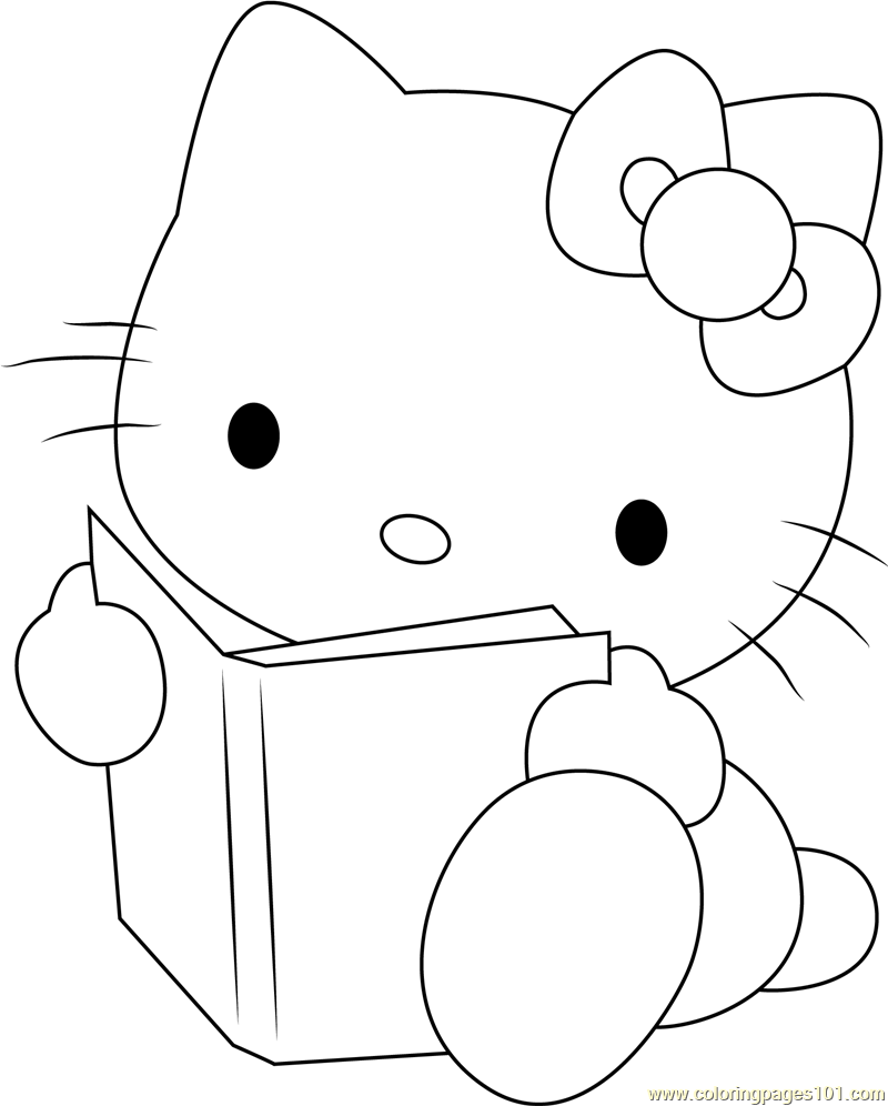 Hello Kitty Reading a Book Coloring