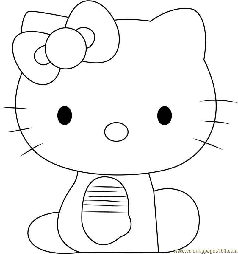 Hello Kitty Sitting Coloring Page
