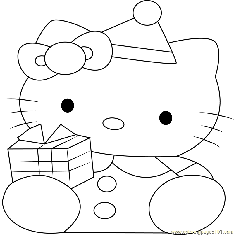 Hello Kitty At Christmas Coloring Page