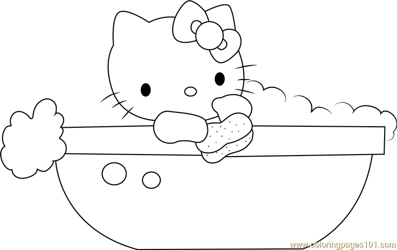 Hello Kitty in Bathtub Coloring