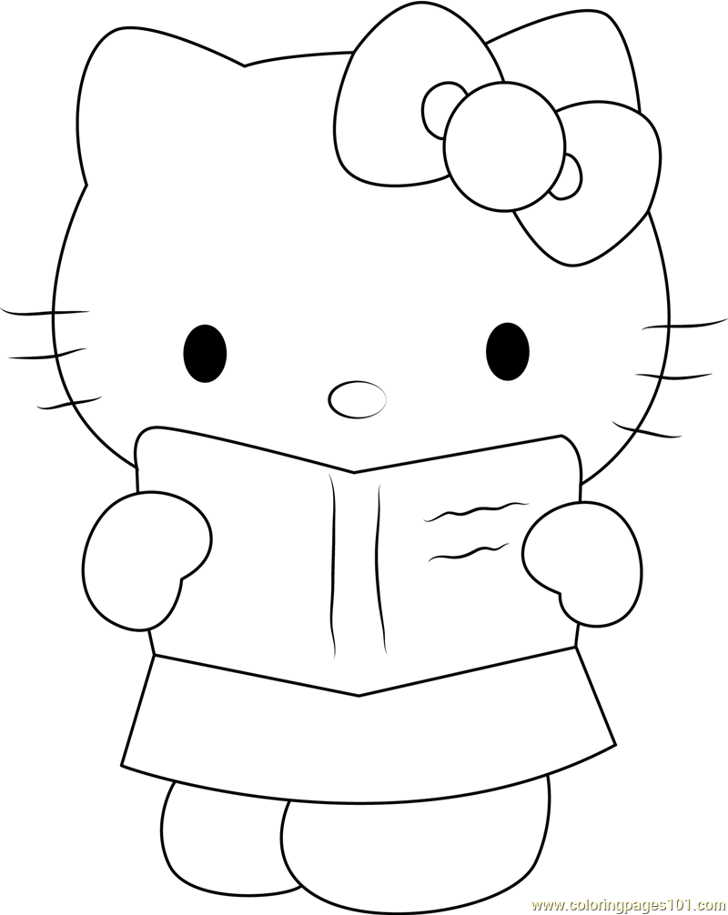 Hello Miss Kitty Coloring Pages : Hello kitty see in book coloring page free