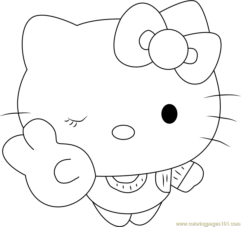 Hello Kitty the Cat Coloring Page