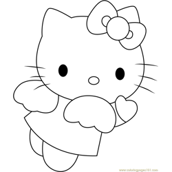 Angel Blue Hearts Hello Kitty Free Coloring Page for Kids