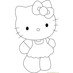 Cute Hello Kitty Free Coloring Page for Kids